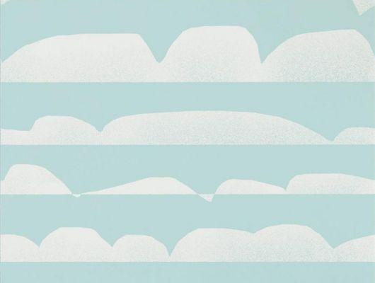 Заказать обои в гостиную арт. 112010 дизайн Haiku из коллекции Zanzibar от Scion, Великобритания с  принтом в виде графических облаков белого цвета на бирюзовом фоне в салоне обоев в Москве, большой ассортимент, Zanzibar, Обои для гостиной, Обои для спальни