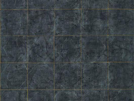 Купить обои в коридор Piastrella vine black  с изображением состаренной плитки черного цвета и золотыми швами в магазине в Москве, Folio, Обои для кабинета, Обои для кухни