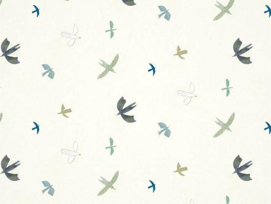Заказать обои для комнаты Skies Above арт. 112641 от Harlequin с изображением летящих птиц в оттенках серого, голубого и бирюзового на светлом фоне в интернет-магазине., Book of Little Treasures, Обои для спальни