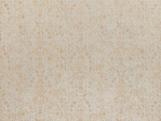 Метровые виниловые обои на из Швеции коллекция VINYL от Collection FOR WALLS артикул 8032 под названием Nils. Причудливый растительный узор с тонкими линиями в бежевых, светло-коричневых и светло-оранжевых оттенках на светлом фоне имитирующем ткань можно заказать в интернет магазине Одизайн в Москве и в салонах на лучших условиях. Онлайн оплата., Vinyl CFW, Обои для гостиной, Обои для кухни, Обои для спальни