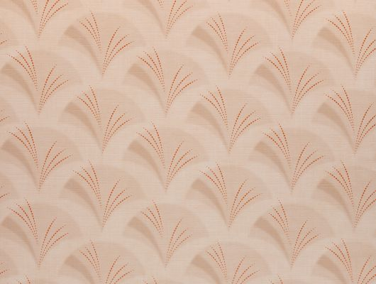 Метровые виниловые моющиеся обои на флизелиновой основе из Швеции коллекция VINYL от Collection FOR WALLS под названием Freja. Светло-оранжевые обои в восточном стиле с изображением силуэта веера. Мягкая структура создаст прочную моющуюся поверхность на стенах в спальне, гостиной,  коридоре и даже кухне, купить в Москве в салонах Одизайн или на сайте онлайн., Vinyl CFW, Обои для гостиной, Обои для кухни, Обои для спальни