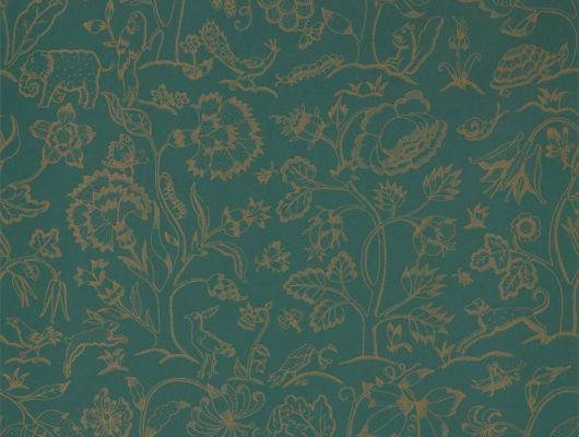 Купить бумажные обои для кухни арт. 216695 из коллекции Melsetter от Morris, Великобритания изумрудного цвета с тонкими золотыми линиями недорого в Москве.В интерьере, Melsetter, Бумажные обои, Новинки, Обои для гостиной, Обои для кабинета, Обои с рисунком
