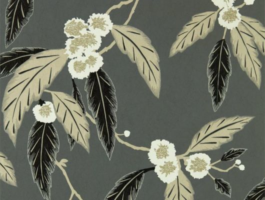 Английские обои арт. 112136  из коллекции Salinas от Harlequin, Великобритания с рисунком листьев и цветов на темно-сером фоне заказать в интернет-магазине в Москве для ремонта спальни, Salinas, Обои для гостиной, Обои для спальни