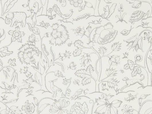 Бумажные обои  для спальни арт. 216693 из коллекции Melsetter от Morris, Великобритания в черно -белом цвете с растительным рисунком посмотреть в шоу-руме., Melsetter, Бумажные обои, Обои для гостиной, Обои для кабинета, Обои для спальни