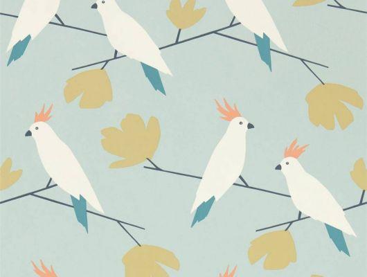 Выбрать дизайнерские обои для спальни Love Birds с изображением какаду на голубом фоне из коллекции Esala от Scion, Esala, Обои для гостиной, Обои для кухни
