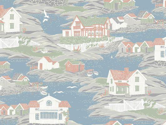 Обои Archipelago изображают небольшой островок заселенный белыми домиками с красными крышами, такой рисунок встретит гостей уютной и располагающей атмосферой, Marstrand II, Детские обои, Новинки, Обои для квартиры, Обои для прихожей, Хиты продаж