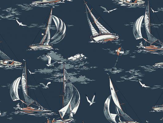 Обои с плавающими на темно-синем фоне яхтами и фрегатами подойдут для оформления мужского кабинета или домашнего офиса, Marstrand II, Детские обои, Обои для кабинета