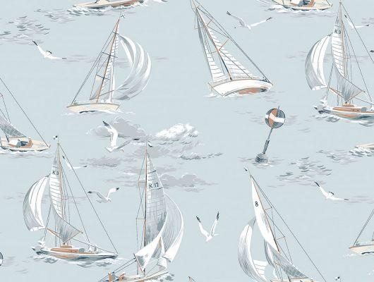 Плавающие на светло-голубом фоне корабли, послужат замечательным фоном для квартир студий, где в приоритете большое пространство., Marstrand II, Детские обои, Обои для квартиры, Флизелиновые обои