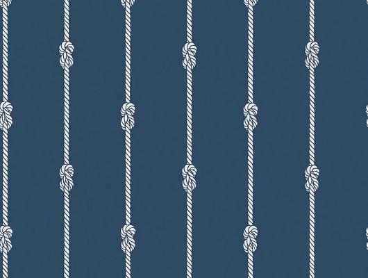 Белые полоски с элементами морского узла на темно синем фоне отлично впишутся в гостиную или кабинет, Marstrand II, Детские обои, Новинки, Обои для гостиной, Обои для кабинета, Обои для квартиры, Полосатые обои