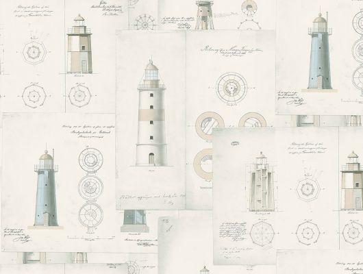 Обои бежевого оттенка с изображением карт и схем маяков станут незаменимой частью вашего коридора или холла, Marstrand II, Детские обои, Новинки, Обои для квартиры, Обои для прихожей
