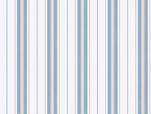 Стильная синяя полоска чередующаяся с красными линиями, на белом фоне составляют красивый узор, Marstrand II, Детские обои, Обои для квартиры, Полосатые обои