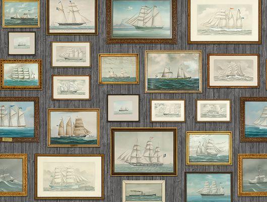 Фотопанно для настоящих ценителей морской тематики, состоящее из стены увешанной картинами с фрегатами и короблями, Marstrand II, Детские фотообои, Обои для кабинета, Фотообои