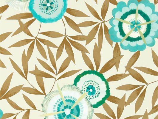 Дизайнерские обои в спальню арт. 112159 дизайн Komovi  из коллекции Salinas от Harlequin, Великобритания с рисунком стилизованных цветов и листьев на бежевом фоне выбрать в шоу-руме в Москве, Salinas, Обои для гостиной, Обои для спальни