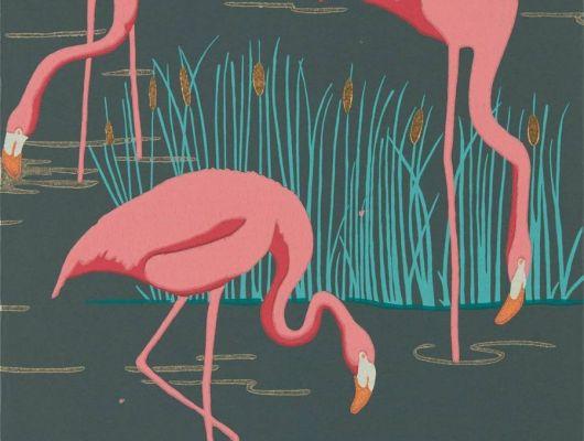 Оформить заказ обоев в прихожую арт. 112156 дизайн Salinas из коллекции Salinas от Harlequin, Великобритания с изображением фламинго розового цвета на черном фоне в интернет-магазине, онлайн оплата, бесплатная доставка до дома, Salinas, Обои для гостиной, Обои для спальни
