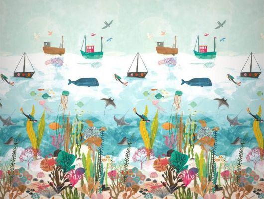 Заказать панно для детской Above And Below арт. 112648 от Harlequin с красочным изображением обитателей морского дна и мягко покачивающимися над ним рыбацкими лодками с бесплатной доставкой., Book of Little Treasures