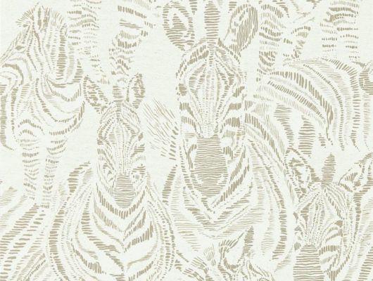 Заказать дизайнерские обои Nirmala арт. 112240 из коллекции Mirador, Harlequin с графичным изображением серебристых зебр на молочном фоне в интернет-магазине., Mirador, Обои для гостиной, Обои для кабинета, Обои для спальни