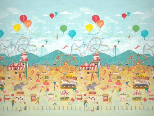 Заказать красочное панно Lifes A Circus арт. 112647 от Harlequin с изображением праздничной ярмарочной площади и цирка-шапито с бесплатной доставкой., Book of Little Treasures
