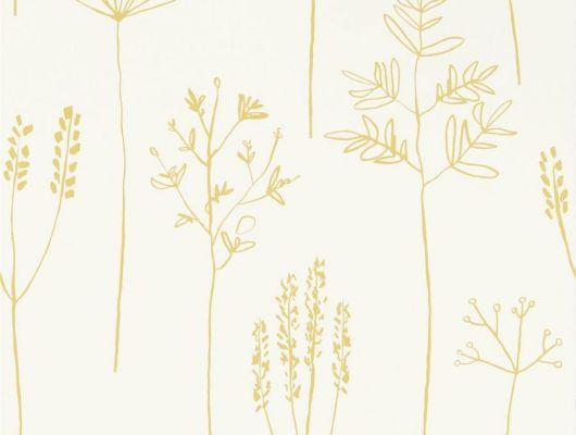 Купить обои в прихожую арт. 112021 дизайн Stipa из коллекции Zanzibar от Scion, Великобритания с принтом в виде абстрактных растений желтого цвета на бежевом фоне в минималистичном стиле  на сайте Odesign.ru, бесплатная доставка, Zanzibar, Обои для гостиной, Обои для спальни