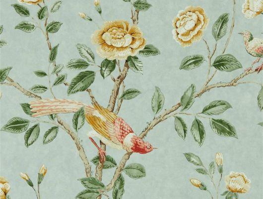 Дизайнерские обои Andhara арт. 216793 из коллекции Caspian, Sanderson,  Великобритания с изображением райских птиц на фоне оттенка морского стекла купить в салоне., Caspian, Обои для гостиной, Обои для спальни