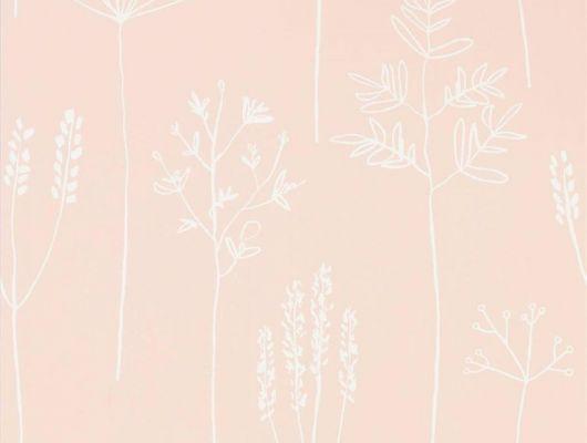 Оформить заказ на фирменные обои в спальню арт. 112018 дизайн Soetsu из коллекции Zanzibar от Scion, Великобритания с принтом в виде абстрактных растений белого цвета на припыленном розовом фоне в минималистичном стиле  на сайте Odesign.ru, бесплатная доставка, Zanzibar, Обои для гостиной, Обои для спальни