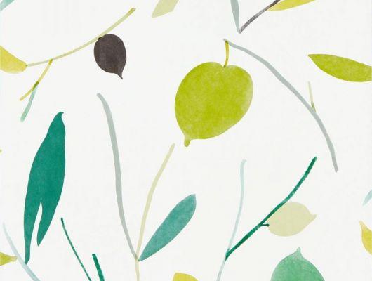 Заказать английские обои в спальню арт. 111994 дизайн Oxalis из коллекции Zanzibar от Scion, Великобритания с  принтом в виде листьев в красивых изумрудно-салатовых тонах на белом фоне в шоу-руме в Москве с бесплатной доставкой, онлайн оплата, Zanzibar, Обои для гостиной, Обои для спальни