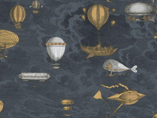 Английские обои с позолоченными дерижаблями и воздушными шарами на темном фоне, станут любимыми в комнате юного мальчика, Fornasetti, Fornasetti II, Fornasetti Senza Tempo, Английские обои, Детские обои