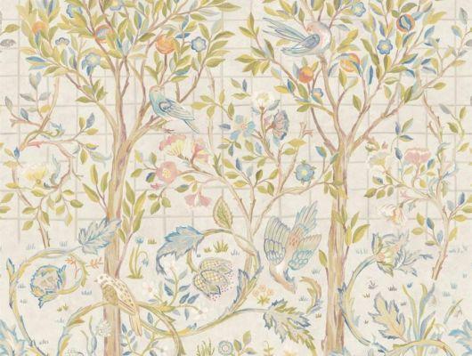Заказать панно для гостиной арт. 216706 из коллекции Melsetter от Morris с птицами на фруктовом дереве с доставкой в Москве., Melsetter, Обои для гостиной, Обои для кабинета, Обои для спальни, Фотообои