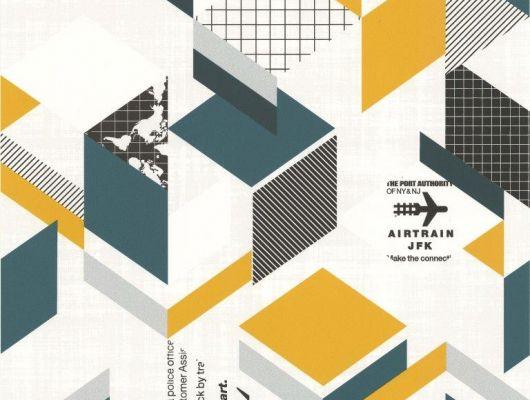 Бумажные обои для подростков с абстрактным геометрическим рисунком в черных, бирюзовых и желтых тонах на белом фоне из коллекции Aura Les Aventures. Найдите подходящие для детей обои в интернет каталоге О-дизайн или в шоу-руме в Москве, Les Aventures, Обои для гостиной, Обои для кухни