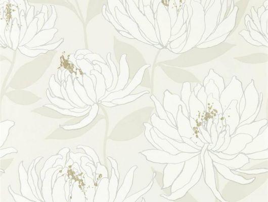 Дизайнерские обои в коридор арт. 112131 дизайн Sebal из коллекции Salinas от Harlequin, Великобритания с изображением хризантем белого цвета на блестящем белом фоне с листьями бежевого цвета в магазине обоев Odesign, Salinas, Обои для гостиной, Обои для спальни