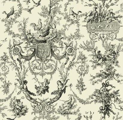 Обои из бумаги с клеевым слоем арт. AB2139 с черно-белым рисунком в стиле жуи из коллекции York - Ashford House Toiles II можно оплатить наличными в магазине в москве, Ashford House Toiles II, Обои для гостиной, Обои для кабинета, Обои для спальни