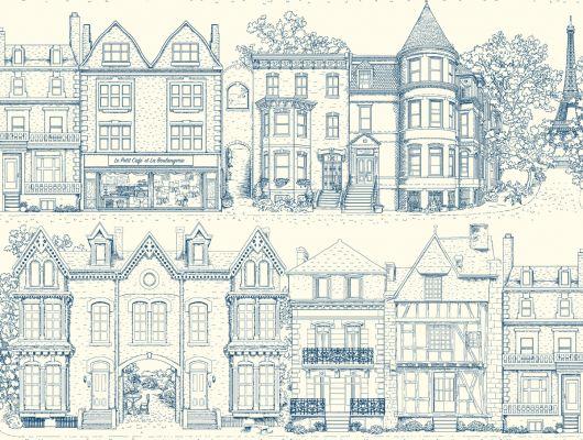 Купить обои бумажные с клеевой основой York - Ashford House Toiles II, арт. AF1908. Обои с рисунком домов на белом фоне. Обои с архитектурой. Обои для спальни,гостиной, прихожей. Заказать в интернет-магазине. Доставка в Москве.Обои для стен., Ashford House Toiles II, Обои для гостиной, Обои для кабинета