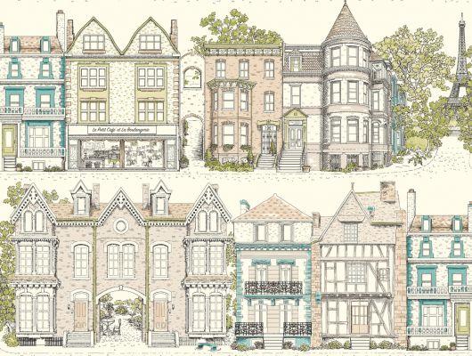 Купить обои бумажные с клеевой основой York - Ashford House Toiles II, арт. AF1909. Обои с рисунком домов на белом фоне.Обои с архитектурой. Обои для спальни,гостиной, прихожей. Обои для детской. Заказать в интернет-магазине. Доставка в Москве.Обои для стен., Ashford House Toiles II, Обои для гостиной, Обои для кухни, Обои для спальни