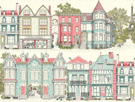 Купить обои бумажные с клеевой основой York - Ashford House Toiles II, арт. AF1910. Обои с рисунком домов на белом фоне.Обои с архитектурой. Обои для спальни,гостиной, прихожей. Обои для детской. Заказать в интернет-магазине. Доставка в Москве.Обои для стен., Ashford House Toiles II, Обои для гостиной, Обои для кухни, Обои для спальни