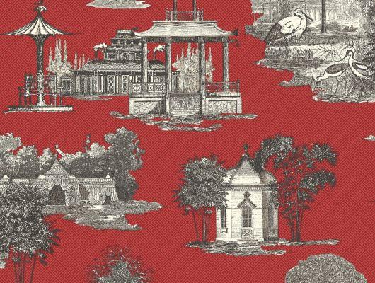 Купить обои бумажные с клеевой основой York - Ashford House Toiles II, арт. AF1915. Обои с рисунком домов на красном фоне.Обои с архитектурой. Обои для спальни,гостиной, прихожей. Заказать в интернет-магазине. Доставка в Москве.Обои для стен., Ashford House Toiles II, Обои для гостиной, Обои для кухни, Обои для спальни