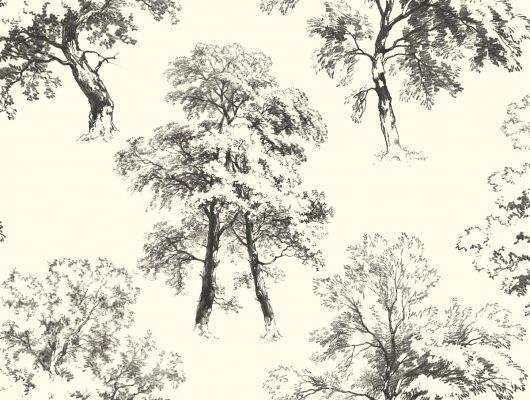 Купить обои бумажные с клеевой основой York - Ashford House Toiles II, арт. AF1925. Обои с рисунком деревьев на белом фоне. Обои с крупным рисунком. Обои для спальни,гостиной, прихожей. Заказать в интернет-магазине. Доставка в Москве.Обои для стен., Ashford House Toiles II, Обои для гостиной, Обои для кухни, Обои для спальни