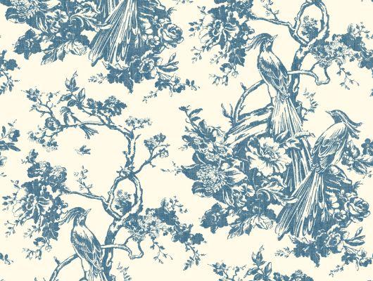 Обои бумажные с клеевой основой York - Ashford House Toiles II,арт. AF1948. Сюжетные  обои в синих тонах подойдут в гостиную.Доставка в Москве.Обои в наличии., Ashford House Toiles II, Обои для гостиной, Обои для кабинета, Обои для кухни, Обои для спальни