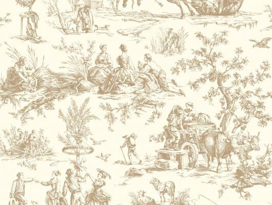 Купить обои бумажные с клеевой основой York - Ashford House Toiles II, арт.AF2003 с рисунком жуи в бежевой гамме в гостиную. Заказать в интернет-магазине.Недорого.Доставка, Ashford House Toiles II, Обои для гостиной, Обои для кухни, Обои для спальни