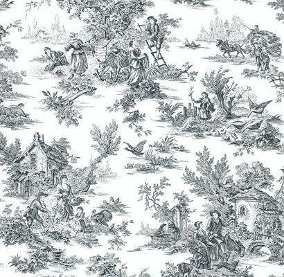 Бумажные обои для квартиры с клеевой основой арт. AT4228 с черно-белым рисунком сельской жизни в стиле жуи из коллекции York - Ashford House Toiles II легко найти на сайте из всего ассортимента обоев, Ashford House Toiles II, Обои для гостиной, Обои для спальни