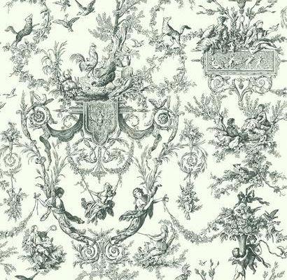 Стильные бумажные обои с клеевой основой арт. AT4237 с расписным черным узором в стиле жуи на пергаментном фоне из коллекции York - Ashford House Toiles II для стен дома или офиса доступны из наличия на складе в москве, Ashford House Toiles II, Обои для гостиной, Обои для кухни, Обои для спальни