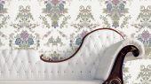 Обои Aura , коллекция Aliento de Valencia ,арт.4000-1 .Цветной дамасский узор на белом фоне .Классический цветочный орнамент . Обои для спальни,  для гостиной. Купить обои,  интернет-магазин, онлайн оплата, бесплатная доставка, большой ассортимент.