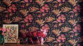"""Обои Cole & Son - """"Rose"""" арт. 115/10029. Классика английских паттернов с изображением прекрасной розы.Королева и украшение любого сада расцветает в окружении папоротника на темном фоне, цвета жженой сиены, умбры и ягоды вишни. Обои Cole & Son, Стоимость, заказать доставку."""