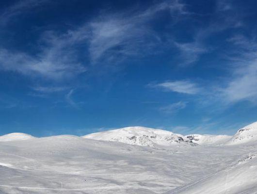 Фотообои под заказ с панорамным рисунком гулбокого синего неба и заснеженных гор, купить онлайн, Photo Mr P, Индивидуальное панно, Фотообои