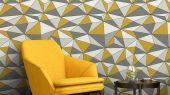 Геометрические обои CUBISM для гостиной с стильным рисунком в желтых и белых оттенках от Fardis из коллекции GEO в Москве в интернет-магазине