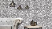 Обои в гостинную с экзотическим рисунком на бирюзовом фоне в виде окраса леопарда Desire, дизайнерские обои, обои с глянцем.