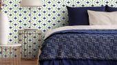Купить обои с геометрическим рисунком в белом и синем цвете, купить в интернет-магазине Москва