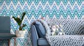 Обои виниловые на флизелиновой основе Fardis GEO FRACTAL для гостиной, с мелким геометрическим рисунком, в ярких тонах, зеленый и синий цвет, купить в Москве, доставка обоев на дом, оплата обоев онлайн