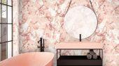 Обои виниловые с принтом  под мрамор розового цвета. Обои в ванную, обои в гостинную, абстрактные обои, обои с блеском, обои в детскую