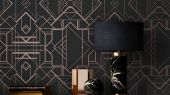 Обои в гостинную с геометрическим принтом на бирюзовом фоне с золотыми линиями. Обои в санузел
