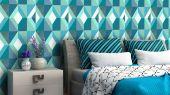 Обои виниловые на флизелиновой основе Fardis GEO HARLEQUIN для спальни, для гостиной, с крупным геометрическим рисунком, в синих и оранжевых цветах, с белыми и серыми элементами купить в Москве, доставка обоев на дом, оплата обоев онлайн, большой ассортимент
