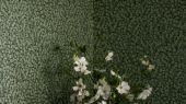 Обои из Швеции коллекция Falsterbo lll от Borastapeter. Рисунок под названием Hazel – лесной орех. Густая листва зеленого цвета на темном фоне. Обои для спальни, для кабинета, для гостиной. Купить обои в интернет-магазине, онлайн оплата, бесплатная доставка.